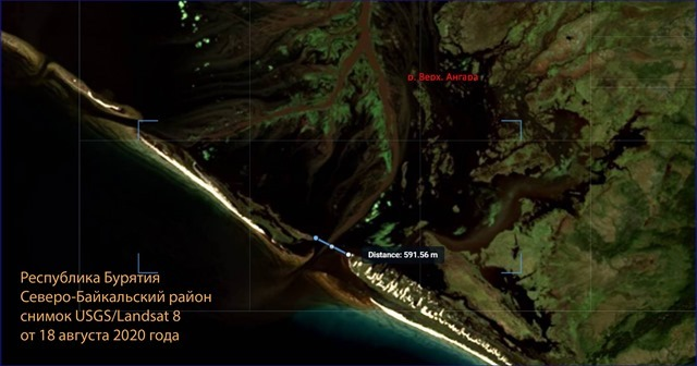 Устье Верхней Ангары у Ярков 18 августа 2020 г.